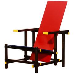 Gerrit T. Rietveld for Cassina, Red and Blue Chair, 1973