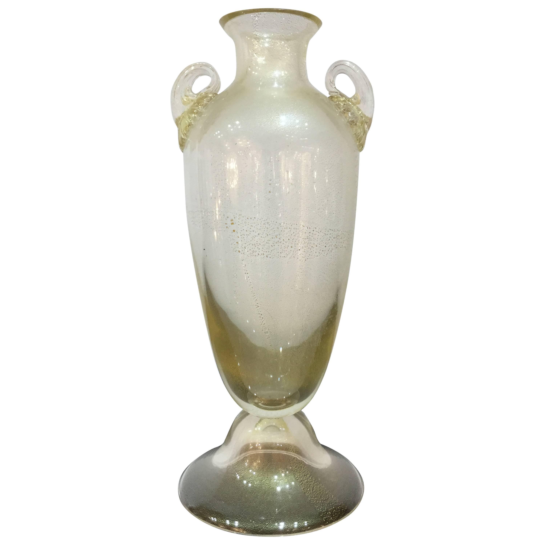 Murano Glass Vase Signed Santi Murano