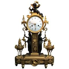 Clock in Gilt and Patinated Bronze on a Model by Thomire
