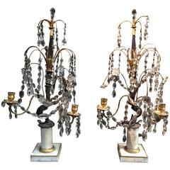 Pair of Russian Candelabra in Bronze and Crystal, 18th Century