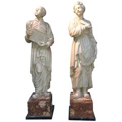 Pair of French Marble Sculptures, 18th Century