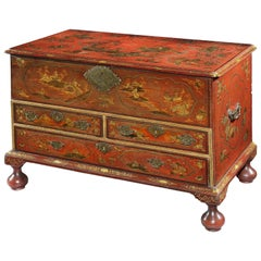 18th Century George I Period Scarlet Japanned Trunk