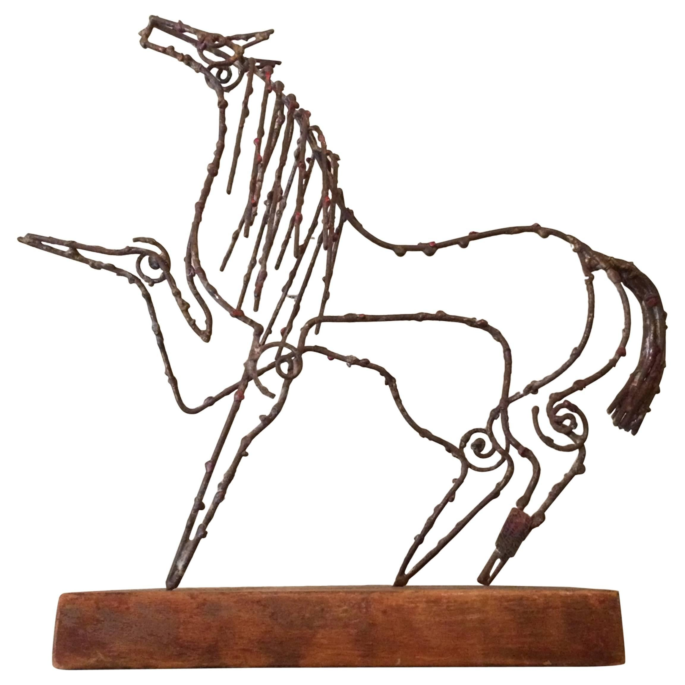 Abstract Brutalist Wire Horse Sculpture Marcello Fantoni for Raymor