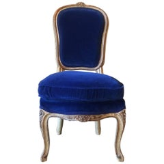 Louis XVI Style Petite Carved Gilded Mahogany Vanity Chair