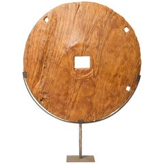 Wood Modern Sculpture with an Arcaic Wooden Wheel
