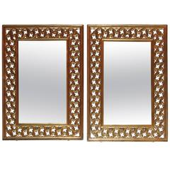 Pair of Hollywood Regency Style Brass Pierced Framed Mirrors