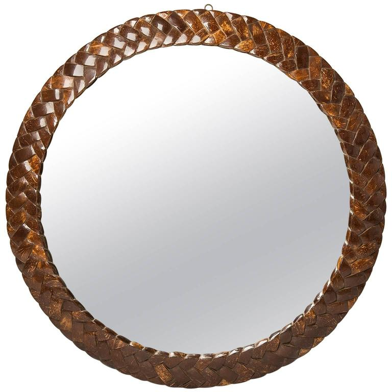 unusual mirror framed in coconut at 1stdibs decorative mirror collection unusual mirror stickers and