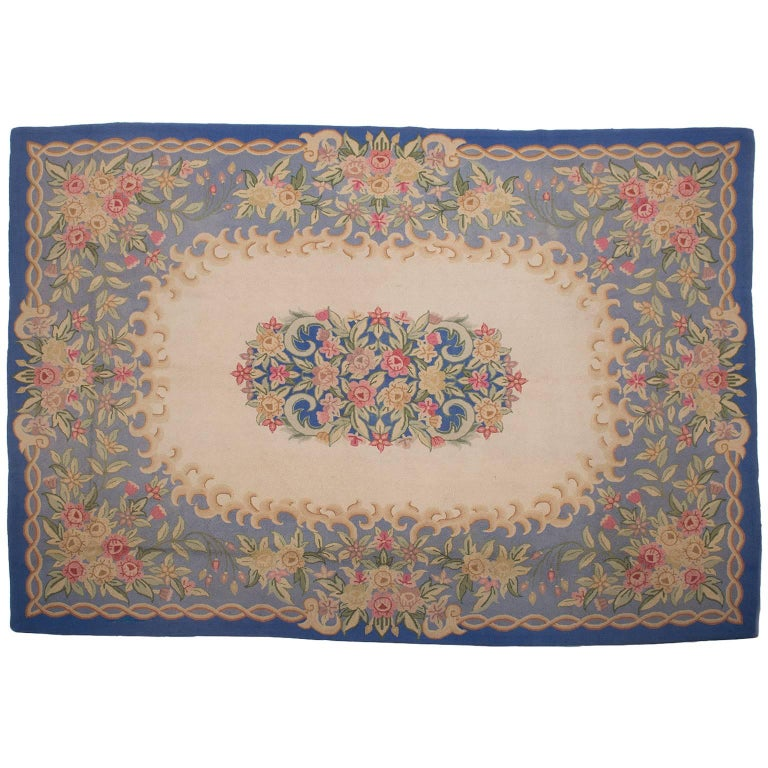 Vintage Hooked Carpet in Aubusson Style- FINAL CLEARANCE SALE For Sale