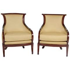Pair of Louis Philippe Mahogany Bergeres