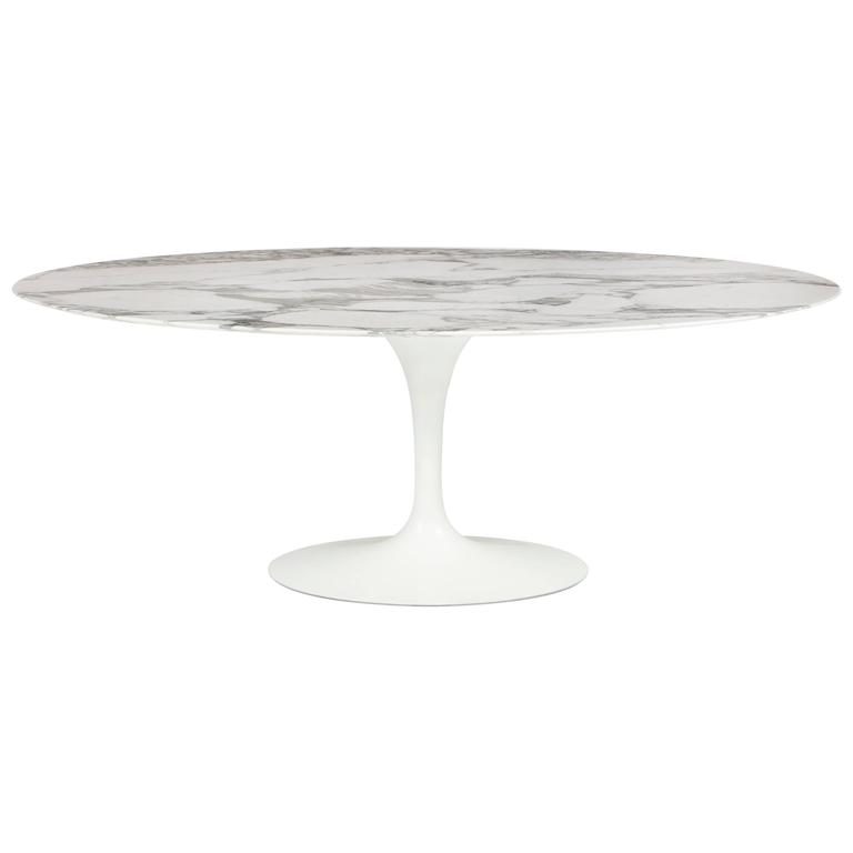Large Oval Marble Tulip Dining Table By Eero Saarinen For