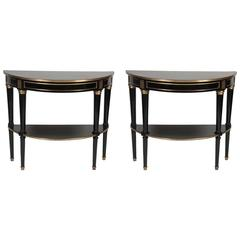 Pair of Ebonized 20th Century Demilune Console Tables