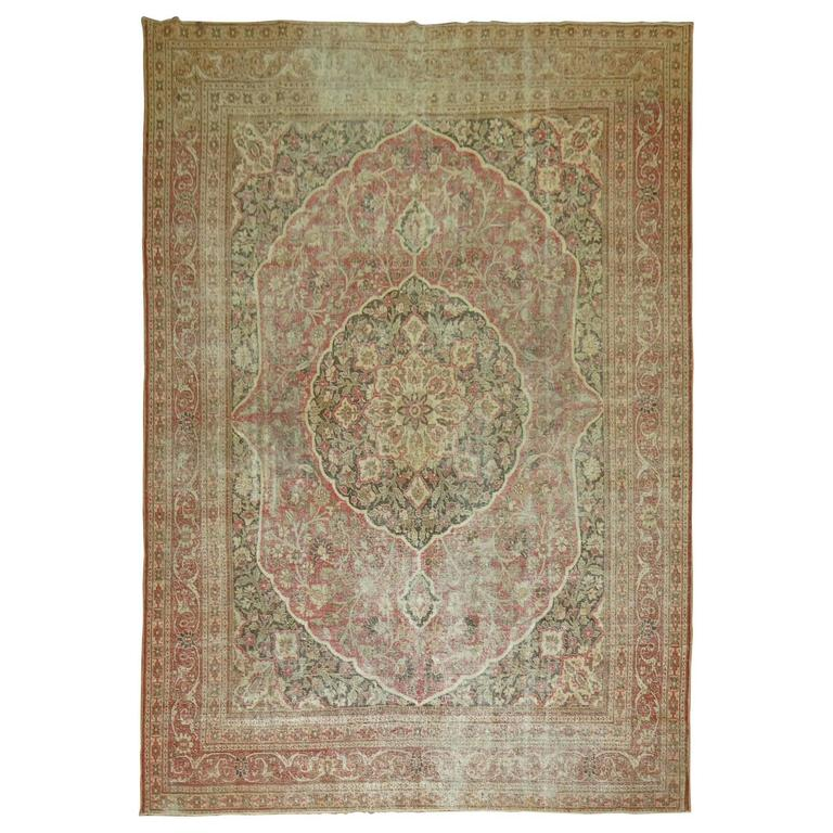 Shabby Chic Persian Tabriz Rug For Sale