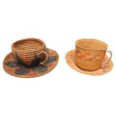 Pair of American Indian Basketry Cup and Saucers from the Northwest Coast