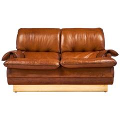 French Modernist Vintage Leather and Brass Sofa