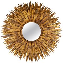 Spanish Vintage Brutalist Large Sunburst Mirror