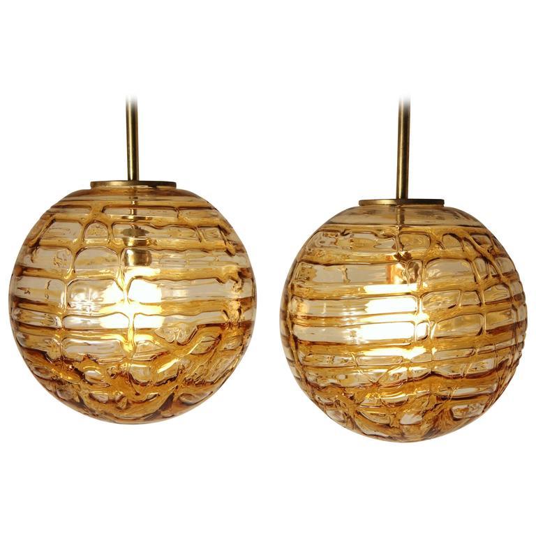 Pair of thick massive pendant from doria leuchten 1970s for Massive lampen