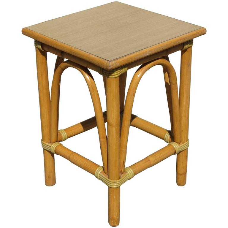 Restored Small Rattan Side Table With Arched Sides 1