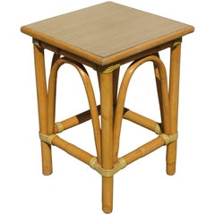 Restored Small Rattan Side Table with Arched Sides