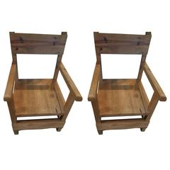 Pair of Vintage Colonial-Style Mexican Hall Chairs