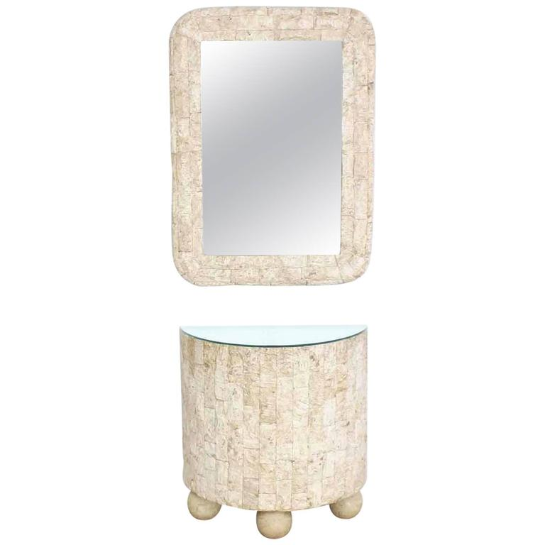 Crushed Rock Tile Console Table with Mirror