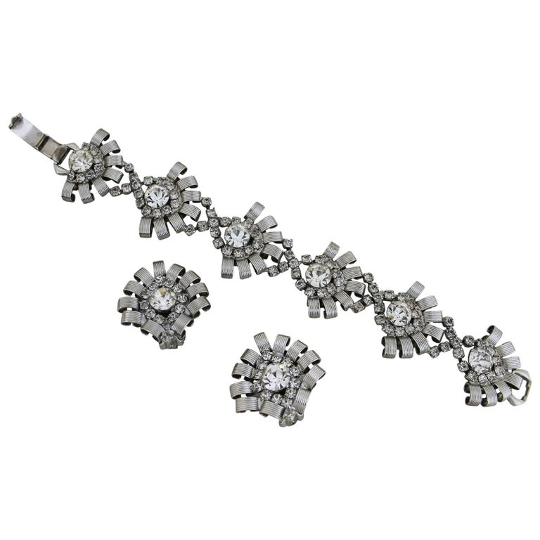 Vintage Hobé Silver-Tone and Rhinestone Bracelet and Earrings For Sale