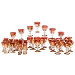 Baccarat Stemware Service Cranberry with Empire Gold Decoration 48 Pieces