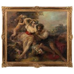 Large Antique Allegorical Painting of Young Couple & Cherub, Signed Oskar Larson