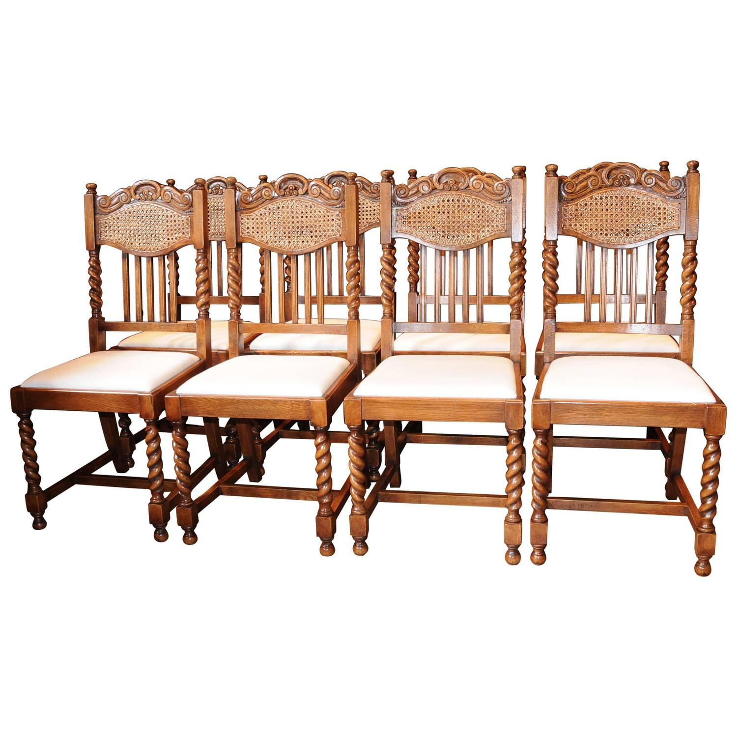 Kitchen Chairs For Sale: Set Of Eight Barley Twist Dining Chairs Kitchen Farmhouse