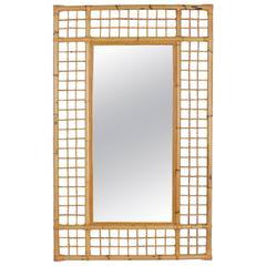 Large Mid-Century Modern Rattan Mirror