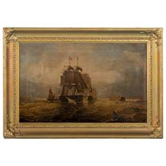 Antique English Oil Painting of War Ships at Sea Signed J. Gough, circa 1800s