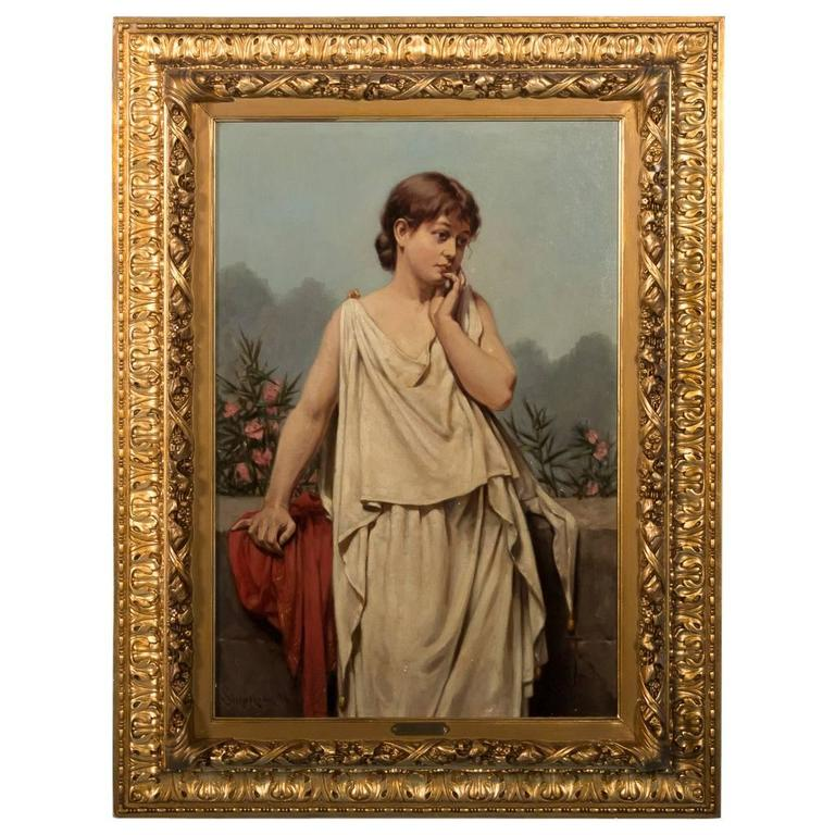 Original Signed Antique Oil Painting of  Young Italian Woman, Valdemar Sichelkow