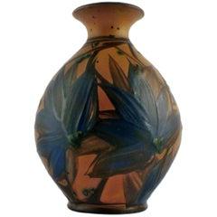 KäHler, HAK, Glazed Stoneware Vase, Beautiful Glaze in Dark Blue Shades