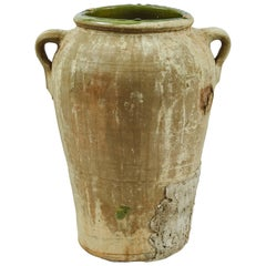 Late 19th Century Matte Textured Green Olive Oil Jar from France