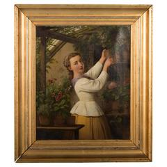 Antique Danish Oil Painting of Woman in a Greenhouse, Edvard Lehmann, Date1869