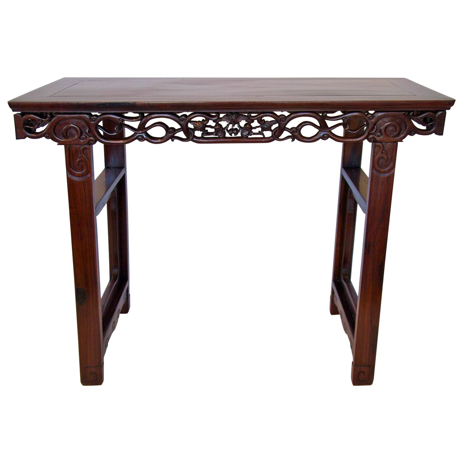 Round Chinese Carved Rosewood Tea Table with Nesting Stools at 1stdibs