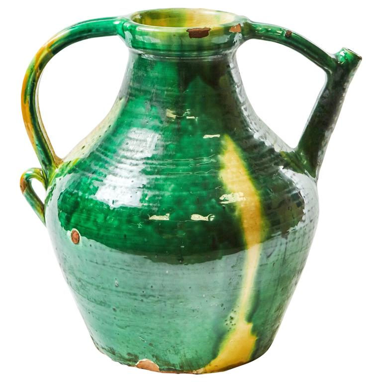 Late 19th Century Green Glazed Pot with Yellow Accents from England