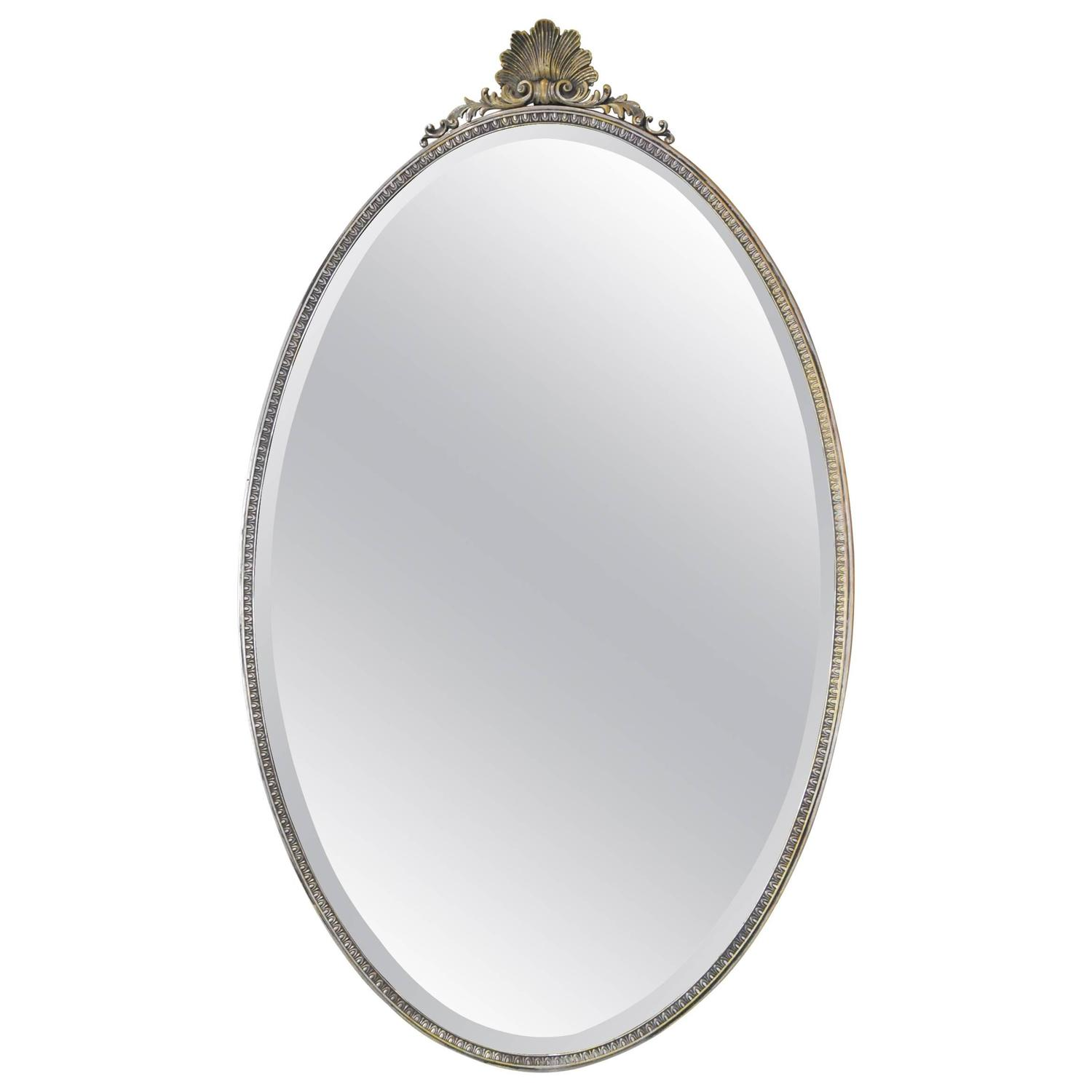 19th century french solid brass oval mirror in silver for Oval mirror canada