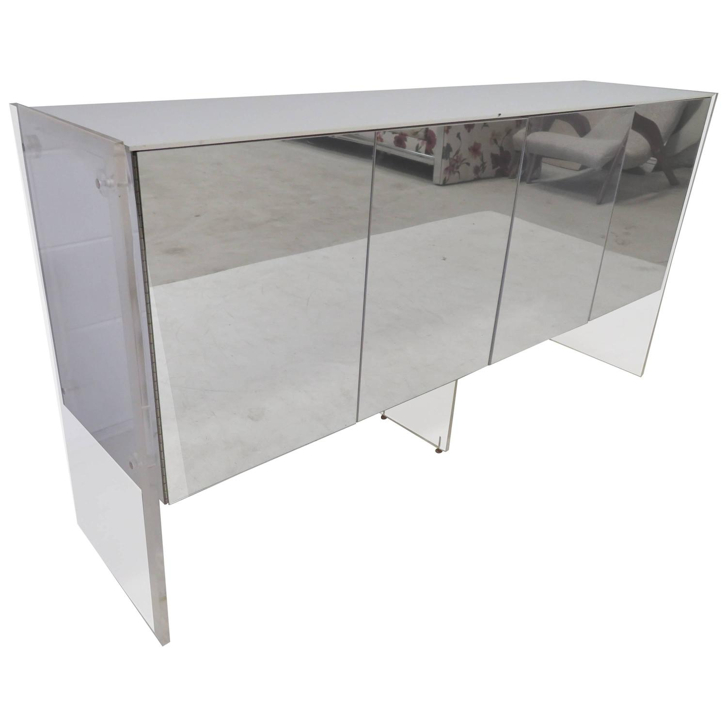 fabulous milo baughman lucite and mirror credenza midcentury  - fabulous milo baughman lucite and mirror credenza midcentury modern forsale at stdibs
