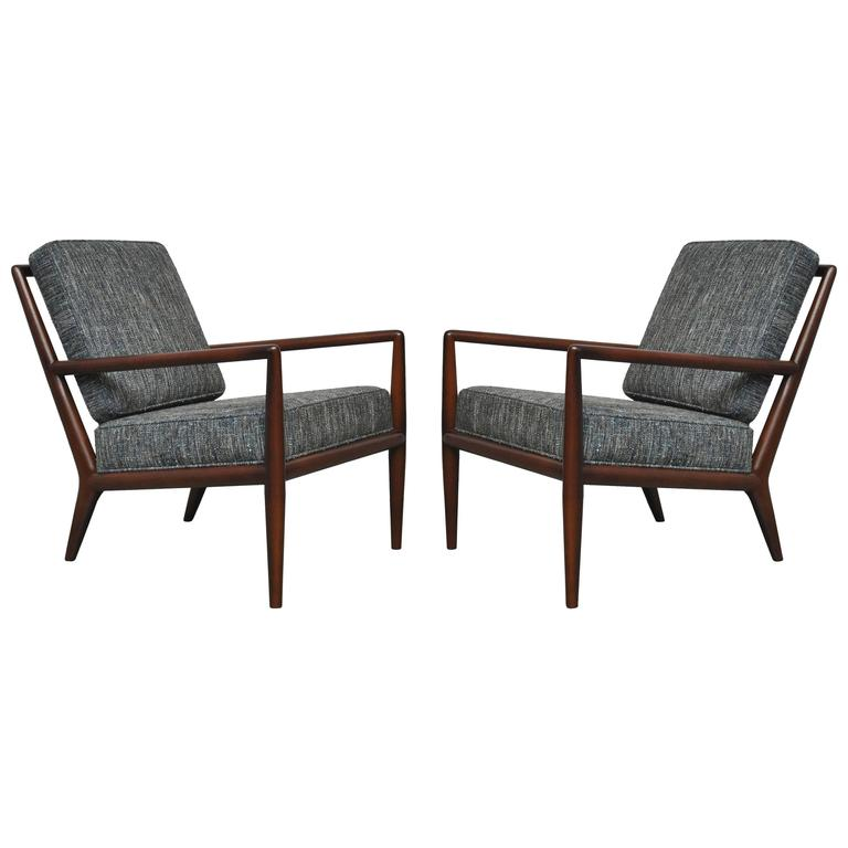 T.H. Robsjohn-Gibbings Pair of Lounge Chairs with Blue Upholstery