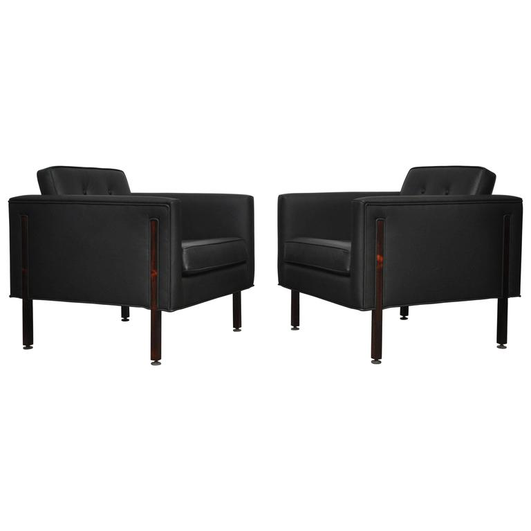 Harvey Probber Rosewood and Black Leather Club Chairs