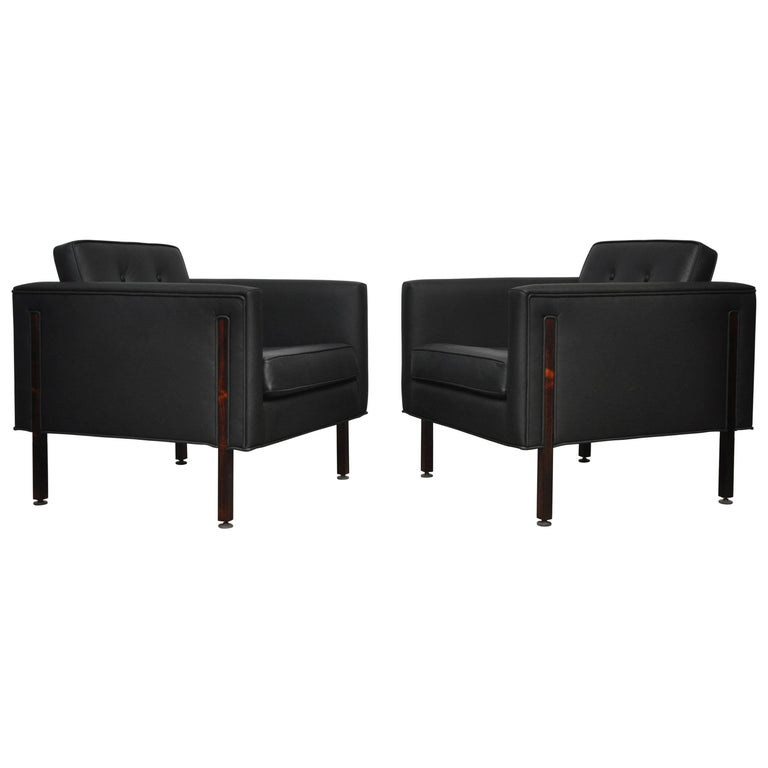 Harvey Probber Style Rosewood and Black Leather Club Chairs For Sale
