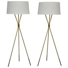 T.H. Robsjohn-Gibbings Pair of Tripod Floor Lamps