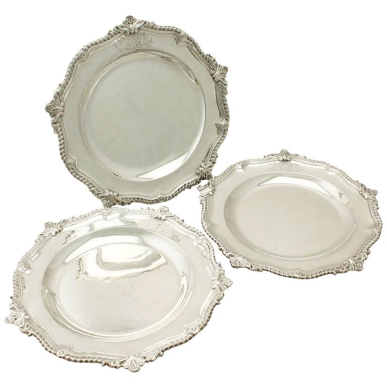 1750s Antique George II Set of Three Sterling Silver Dinner Plates