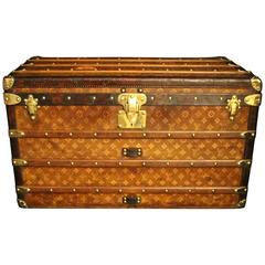 1890s Wooven Canvas Louis Vuitton Tisse Monogram Steamer Trunk
