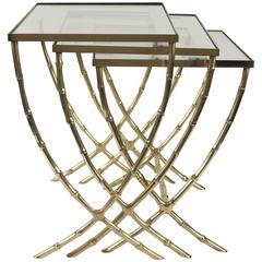 1940s Maison Bagues Bronze Nest of Tables