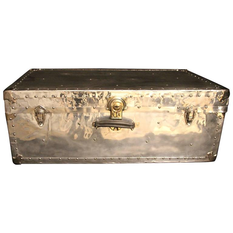 1950s Polished Aluminum Cabin Steamer Trunk For Sale At