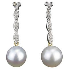 Pearl Earrings with Brilliants, South Sea Pearls