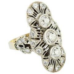 Art Deco Ring with Brilliants, 14-Karat White Gold