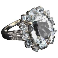 Aquamarine Ring, 14-Carat White Gold with Brilliants