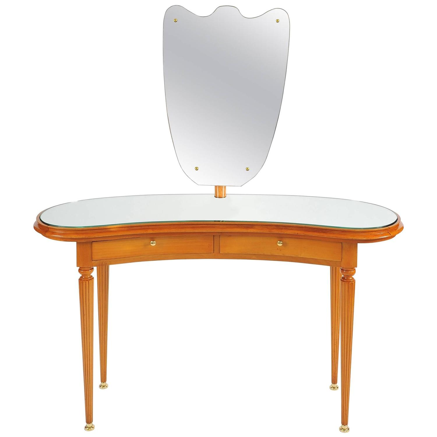 1950s italian vanity table with large shaped mirror for for Vanity table and mirror for sale